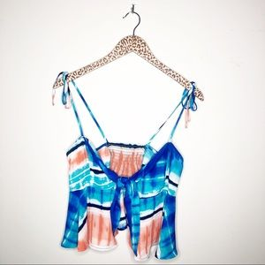 Timing Beachy Tie Dye Bow Front Crop Top Size Med